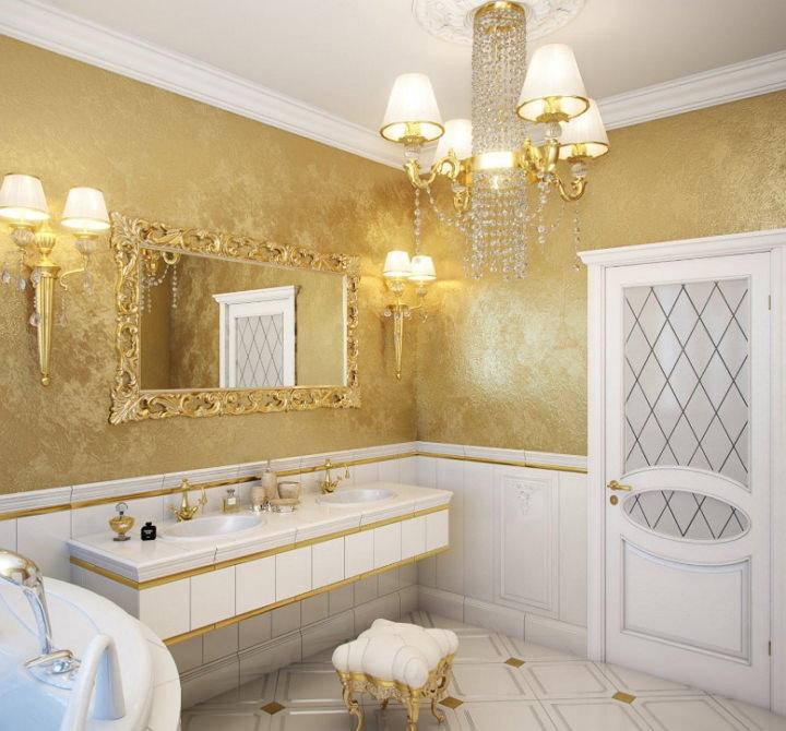 Рельефная краска в ванной