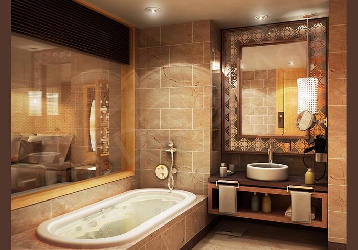 Проект ванной в теплых оттенках камня и дерева