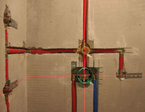 Разводка труб при установке потайного смесителя