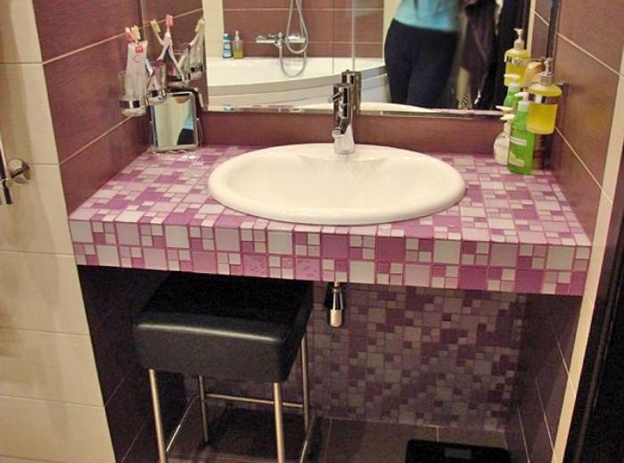 Стол для раковины в ванной своими руками