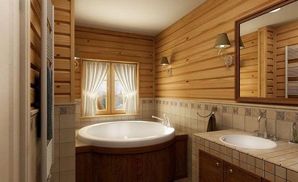 Дизайн деревянной ванной комнаты в доме
