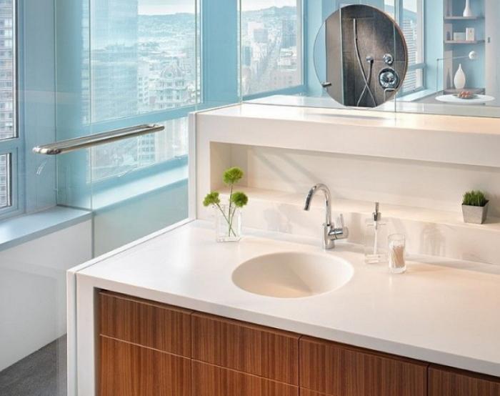 Акриловая столешница в ванную комнату