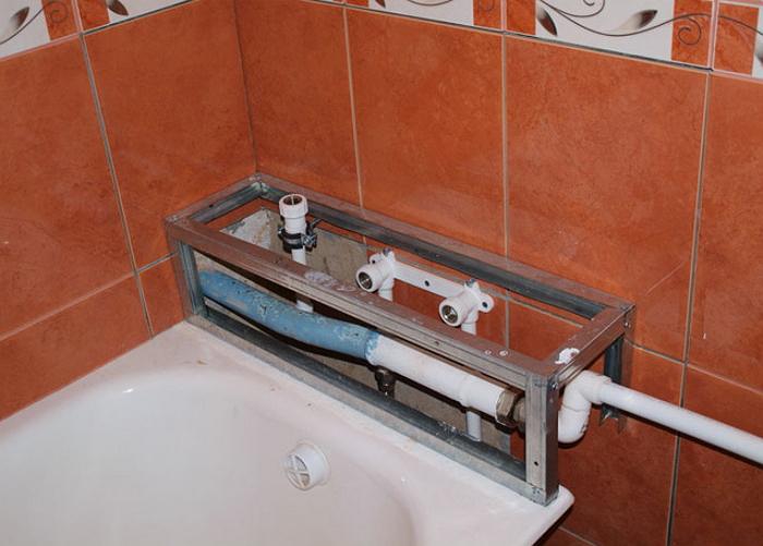 Как правильно маскировать трубы в ванной