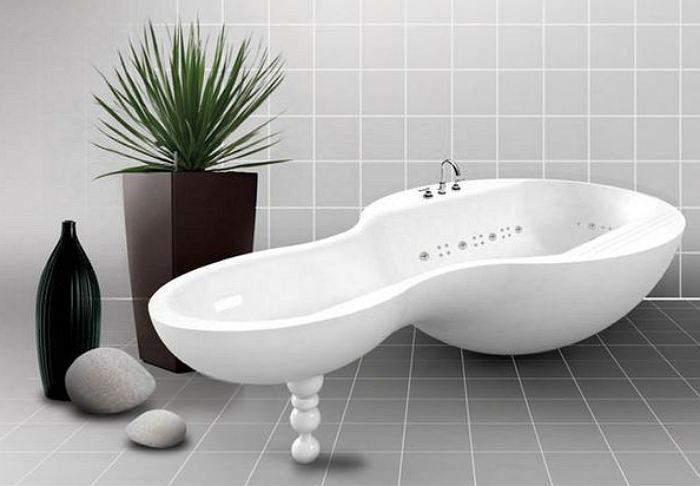 Многофункциональная акриловая ванна необычной формы