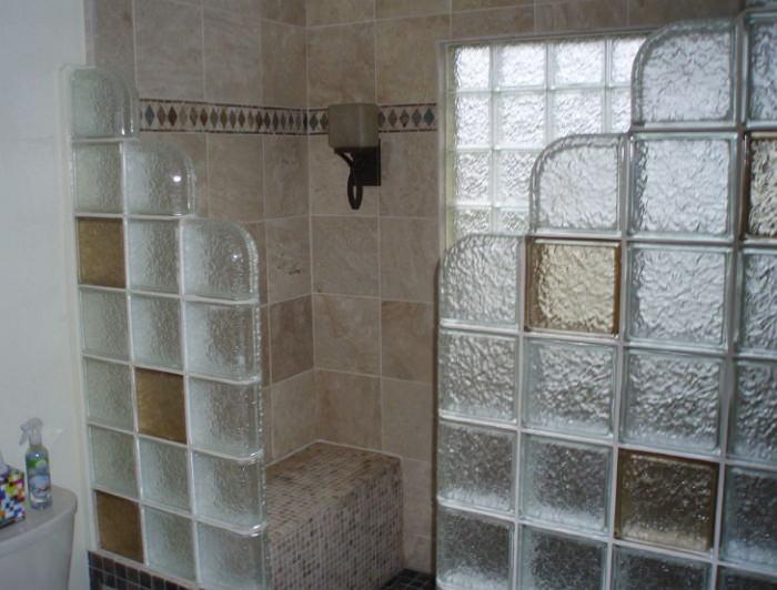Душевая кабина из стеклоблоков
