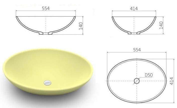 Стандартные габариты накладной круглой раковины