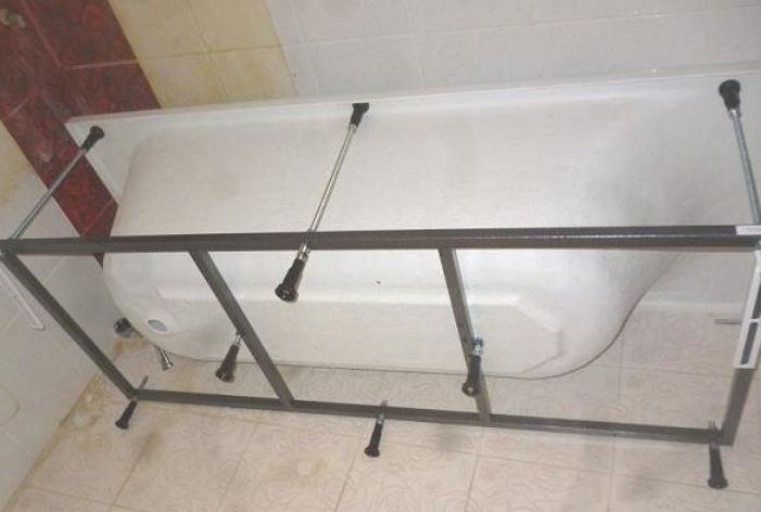 Установка ванны на металлический каркас