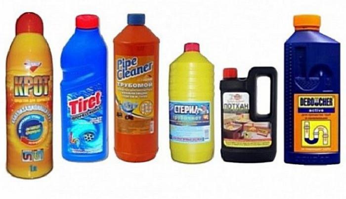 Химические средства от засоров в трубах