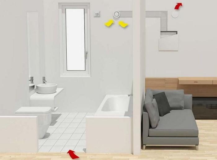 Вытяжной вентилятор с обратным клапаном в ванной