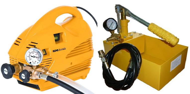 Электрический и ручной насос для труб