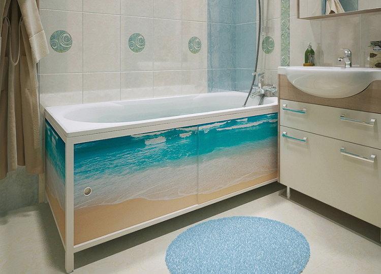 Пластиковые панели под ванну с рисунком