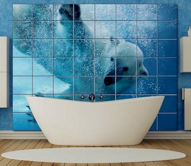 Трехмерное панно из плитки в ванной комнате
