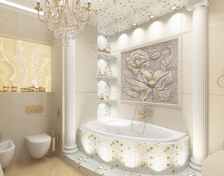Панно в ванной белого цвета