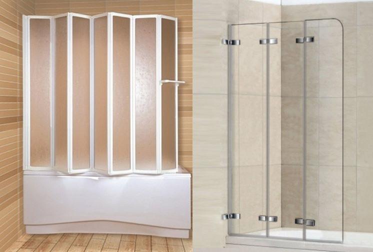 Пластиковая и стеклянная ширма в ванной